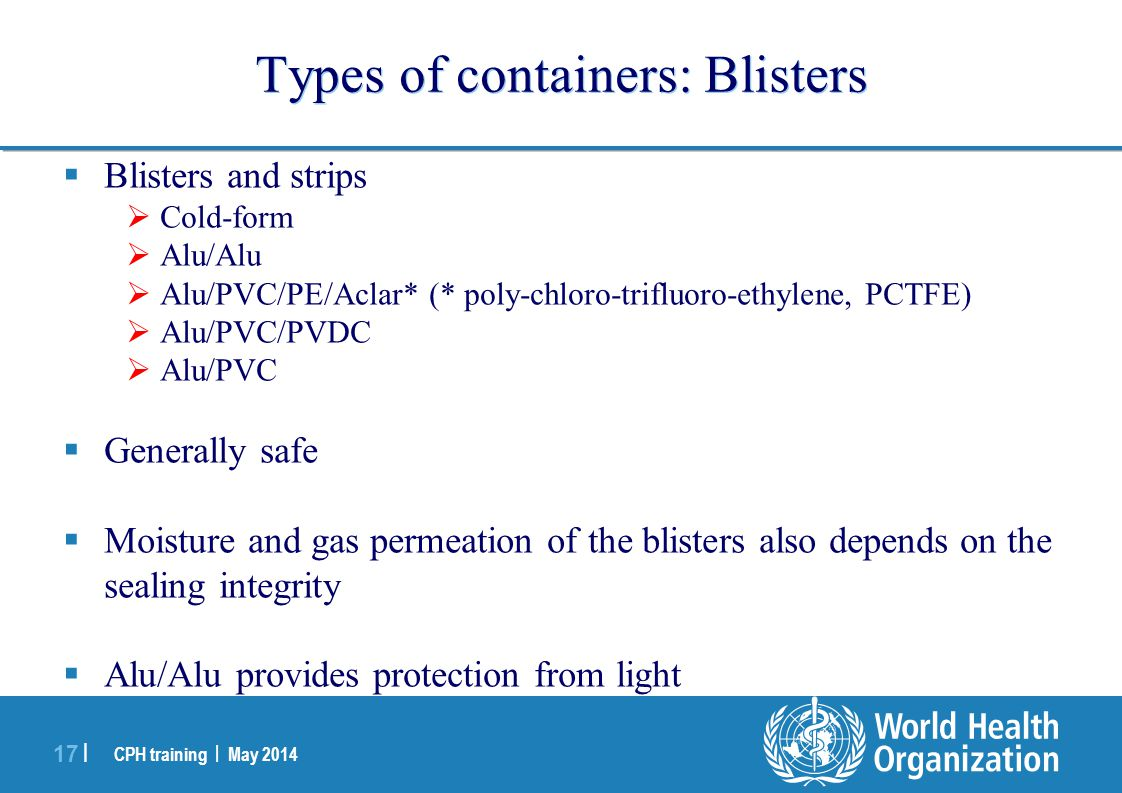 Types of containers: Blisters