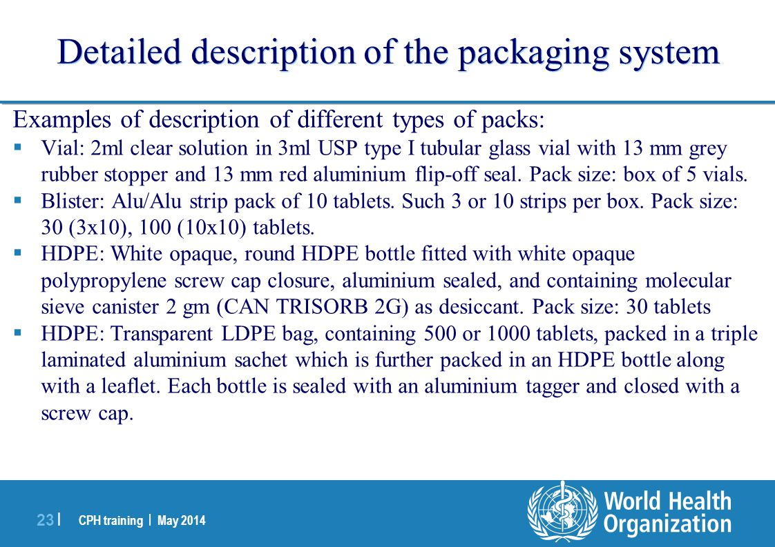 Detailed description of the packaging system