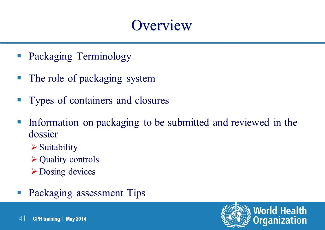 Overview Packaging Terminology The role of packaging system