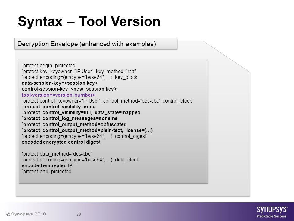 Syntax – Tool Version Decryption Envelope (enhanced with examples)