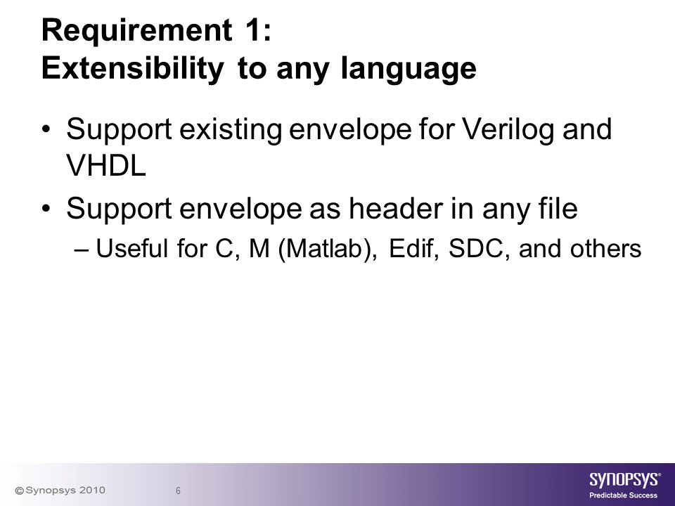 Requirement 1: Extensibility to any language