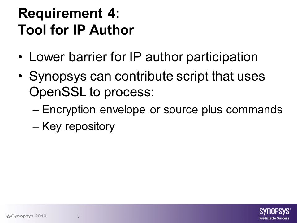 Requirement 4: Tool for IP Author