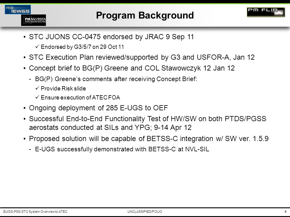 Program Background STC JUONS CC-0475 endorsed by JRAC 9 Sep 11