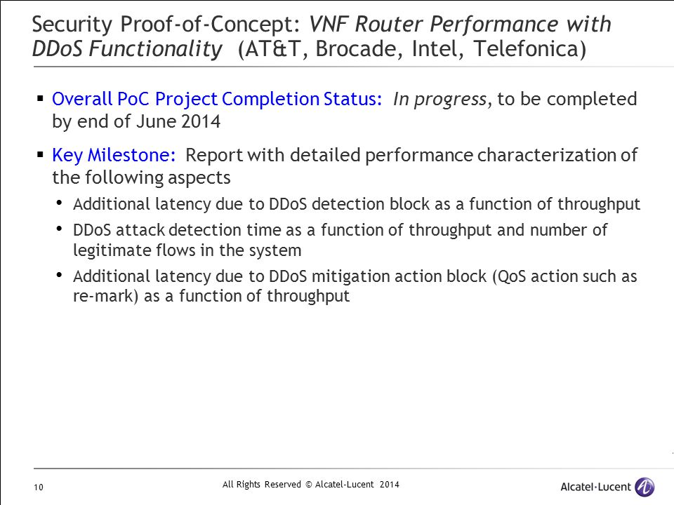 Security Proof-of-Concept: VNF Router Performance with DDoS Functionality (AT&T, Brocade, Intel, Telefonica)