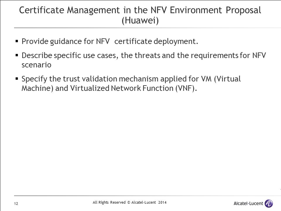 Certificate Management in the NFV Environment Proposal (Huawei)