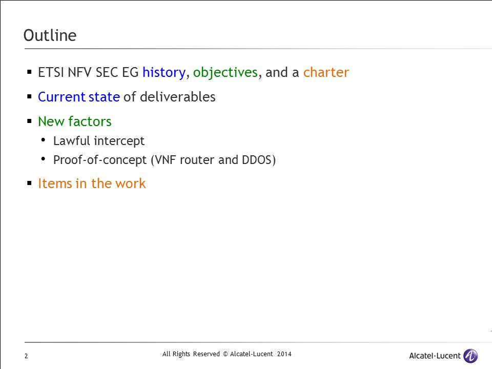 Outline ETSI NFV SEC EG history, objectives, and a charter