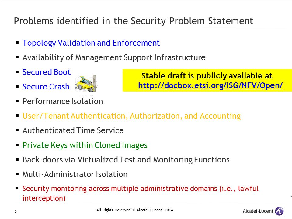 Problems identified in the Security Problem Statement