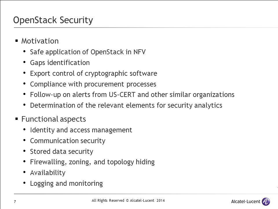 OpenStack Security Motivation Functional aspects