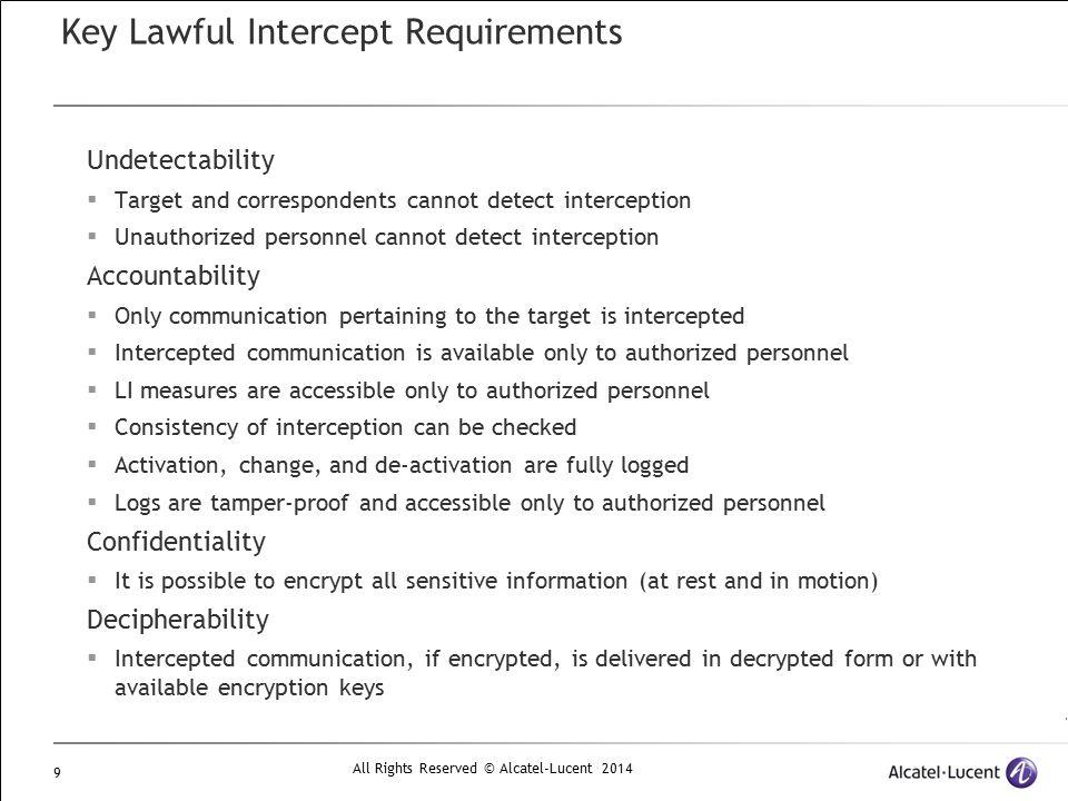 Key Lawful Intercept Requirements