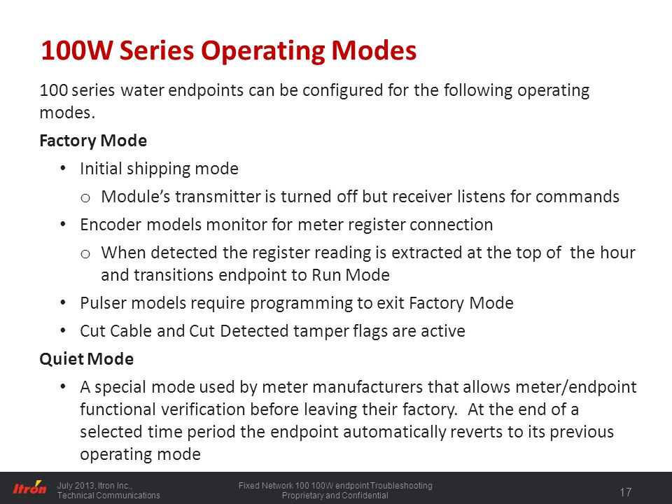 100W Series Operating Modes