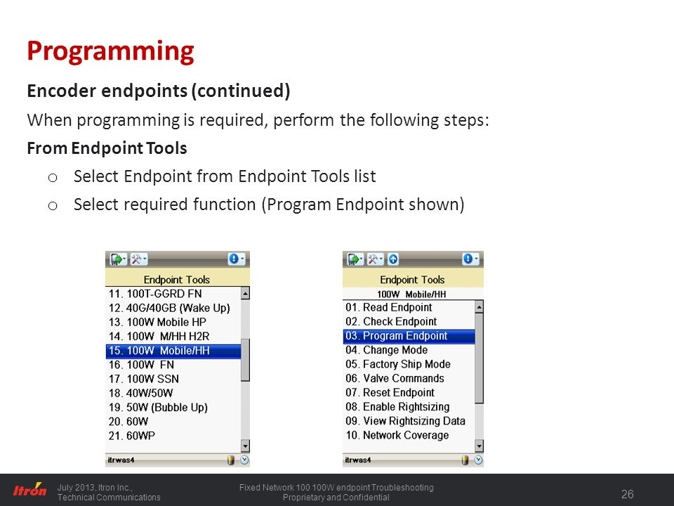 Programming Encoder endpoints (continued)