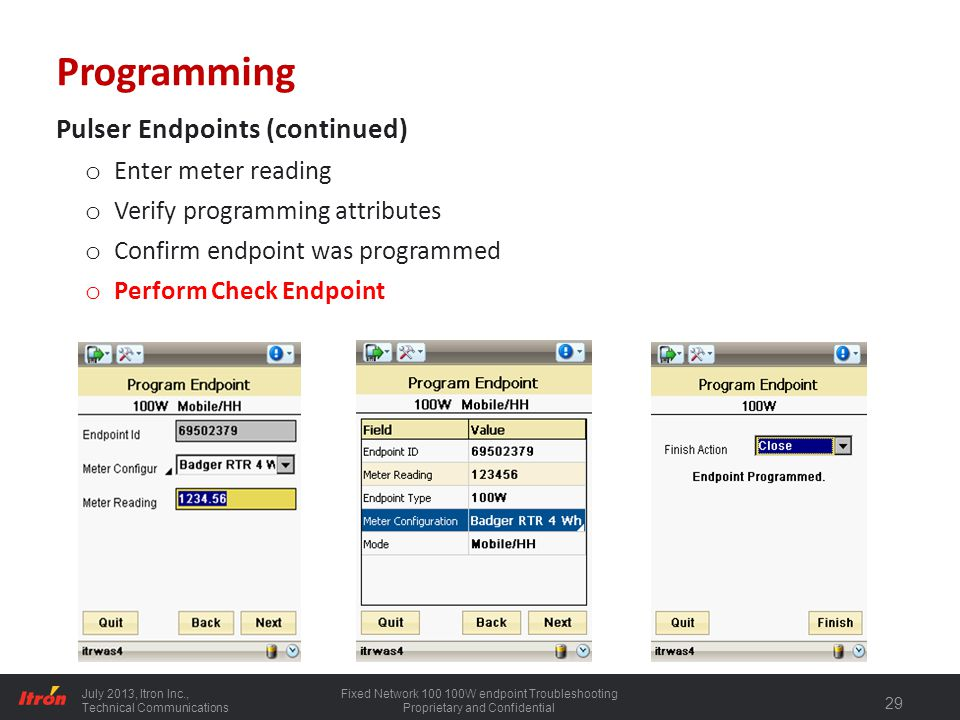 Programming Pulser Endpoints (continued) Enter meter reading