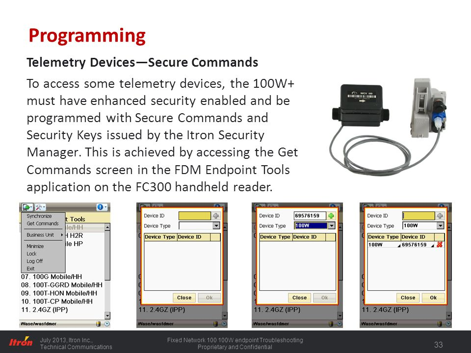 Programming Telemetry Devices—Secure Commands