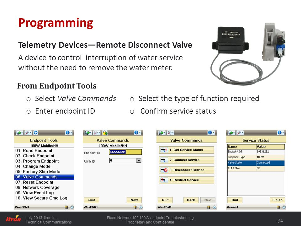 Programming Telemetry Devices—Remote Disconnect Valve