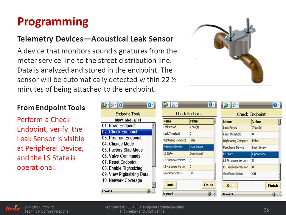 Programming Telemetry Devices—Acoustical Leak Sensor