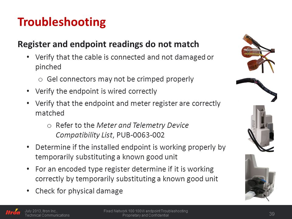 Troubleshooting Register and endpoint readings do not match