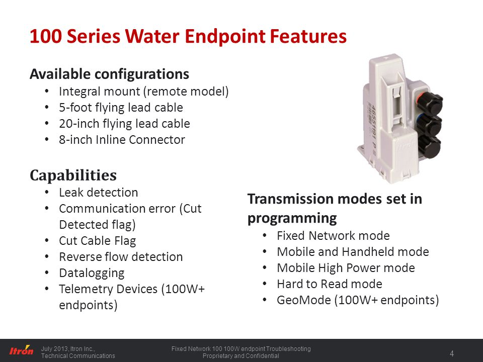 100 Series Water Endpoint Features