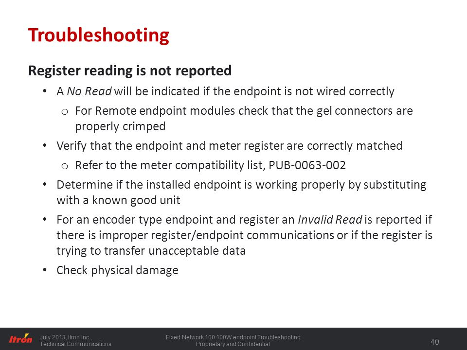 Troubleshooting Register reading is not reported