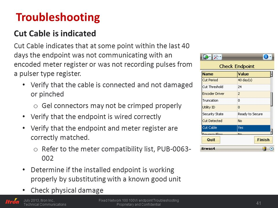 Troubleshooting Cut Cable is indicated