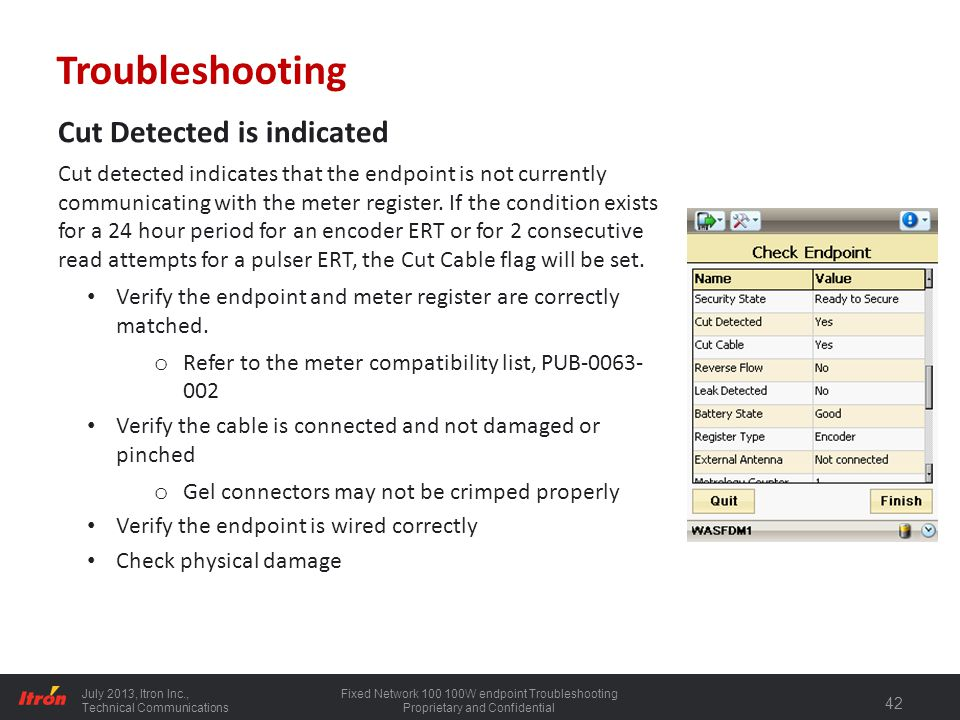 Troubleshooting Cut Detected is indicated