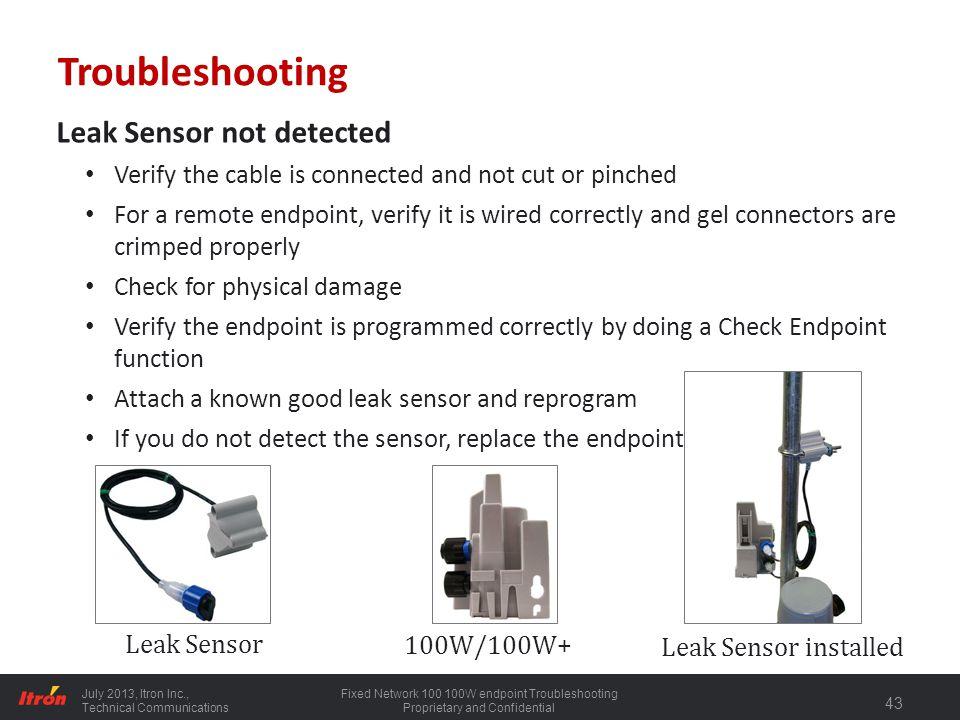 Troubleshooting Leak Sensor not detected
