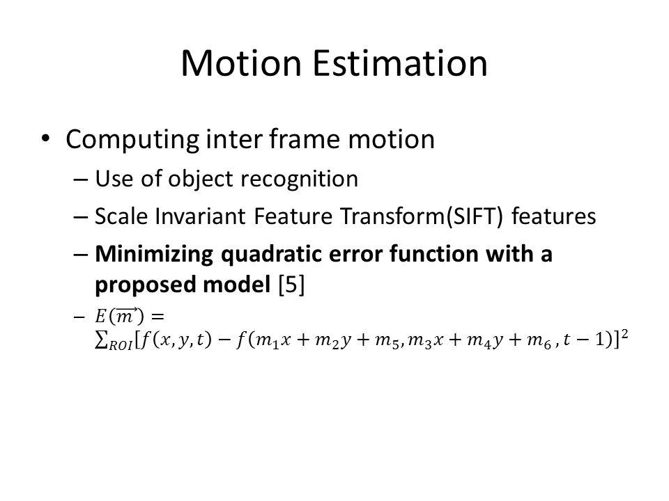 Motion Estimation Computing inter frame motion
