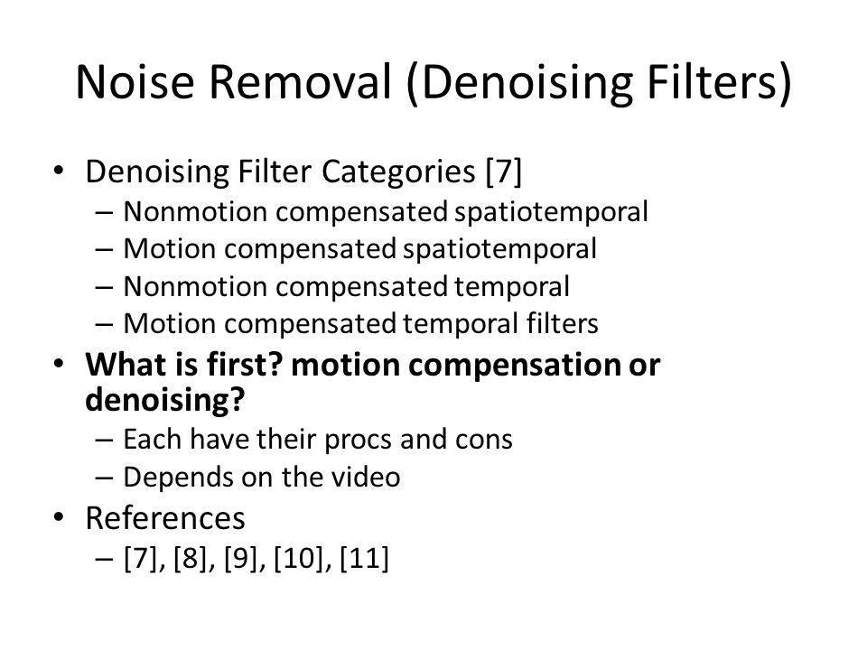 Noise Removal (Denoising Filters)