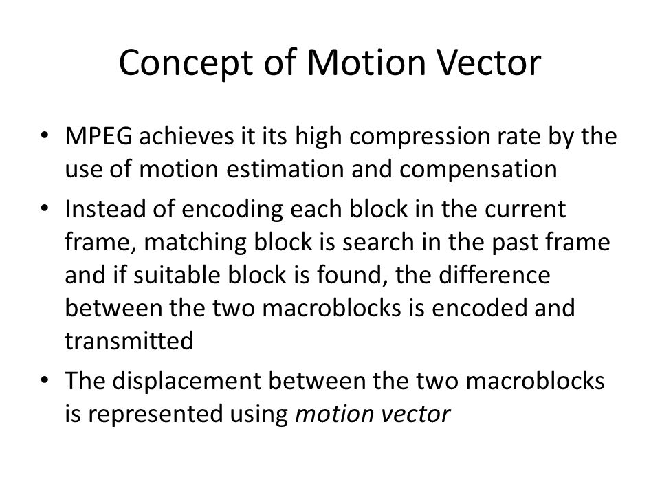 Concept of Motion Vector