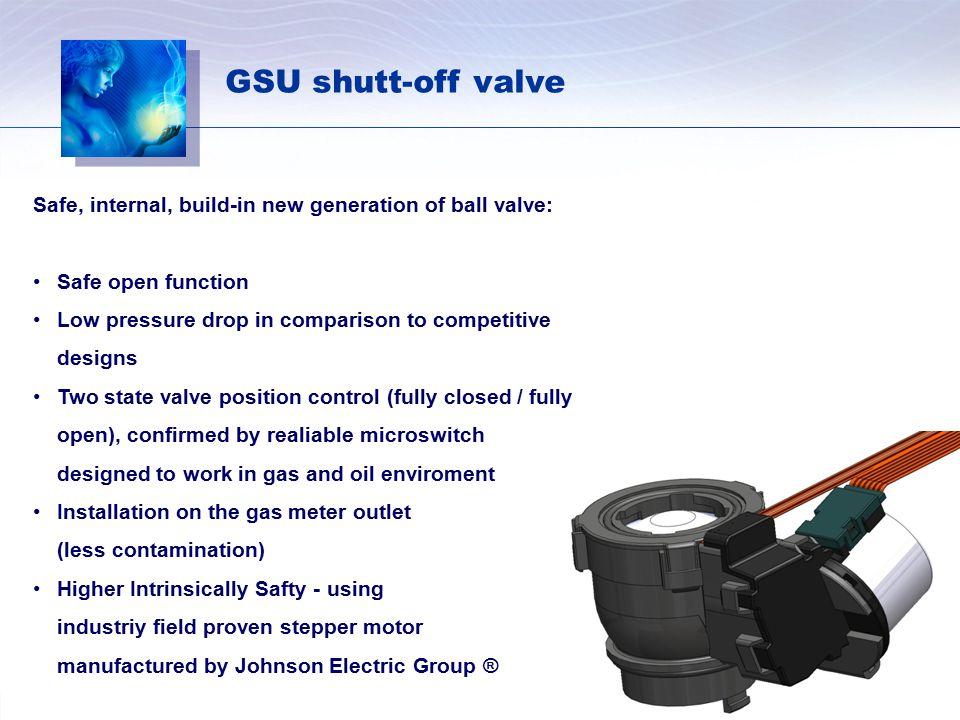 GSU shutt-off valve Safe, internal, build-in new generation of ball valve: Safe open function.