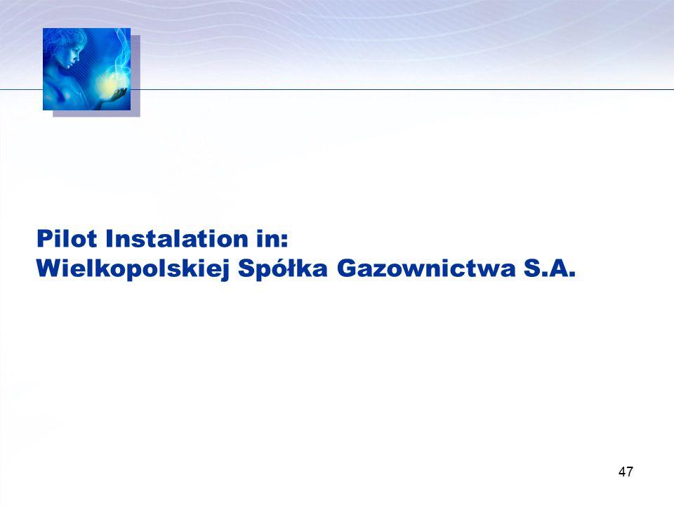 Pilot Instalation in: Wielkopolskiej Spółka Gazownictwa S.A.