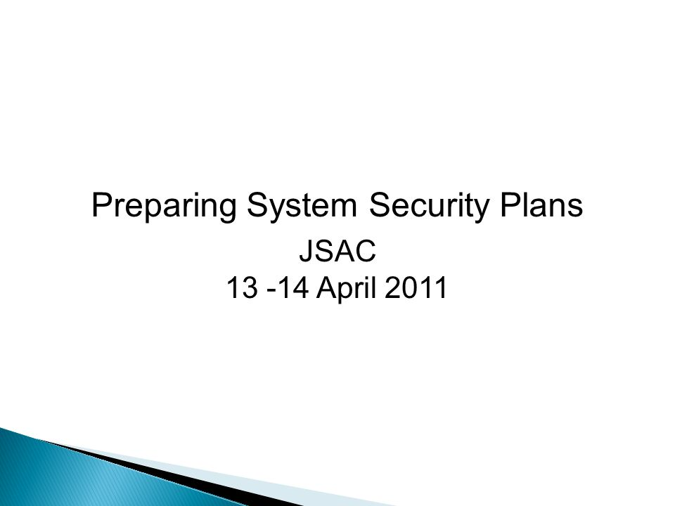 Preparing System Security Plans