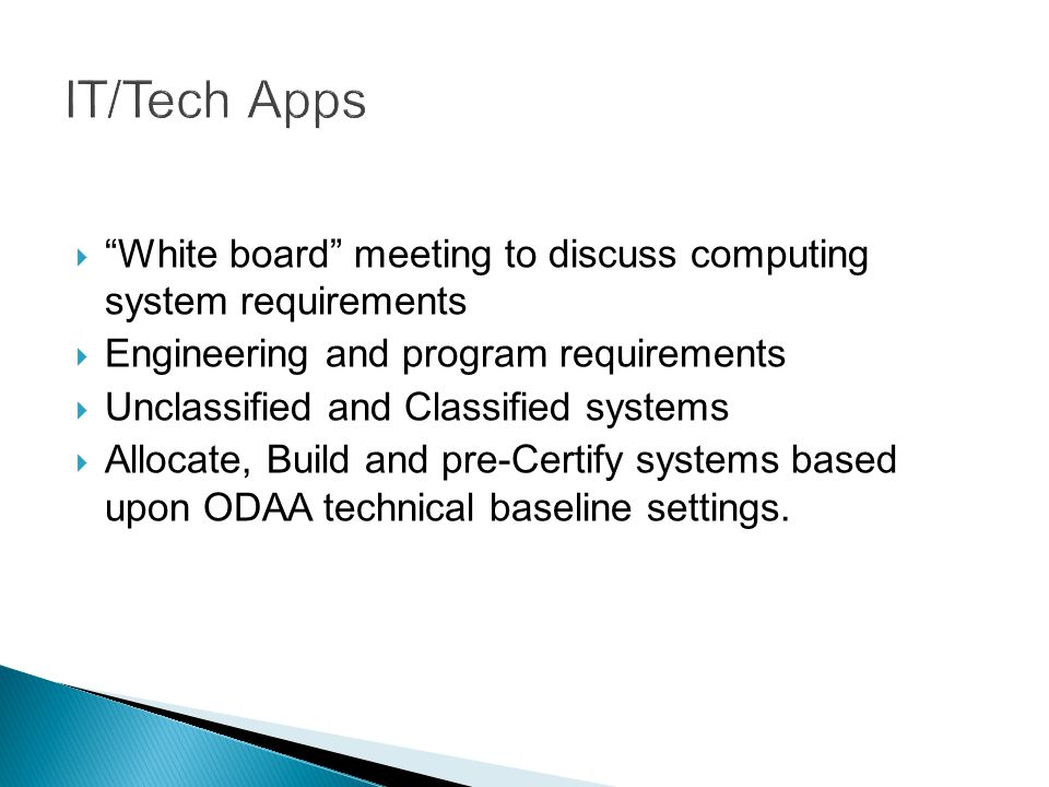 IT/Tech Apps White board meeting to discuss computing system requirements. Engineering and program requirements.