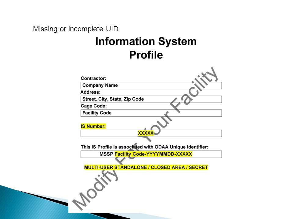Missing or incomplete UID