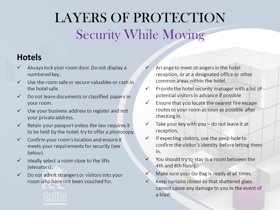 LAYERS OF PROTECTION Security While Moving