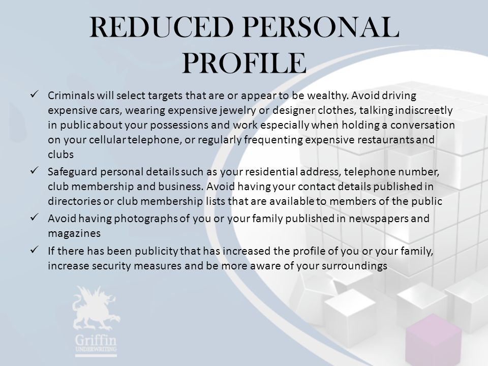 REDUCED PERSONAL PROFILE