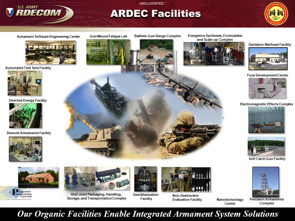 ARDEC Facilities Armament Software Engineering Center. Gun/Mount Fatigue Lab. Ballistic Gun Range Complex.