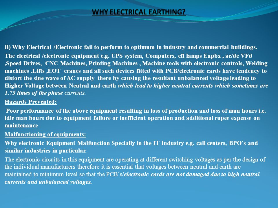 WHY ELECTRICAL EARTHING