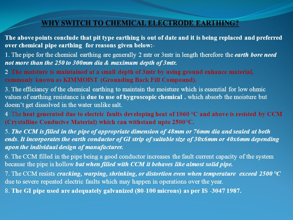 WHY SWITCH TO CHEMICAL ELECTRODE EARTHING