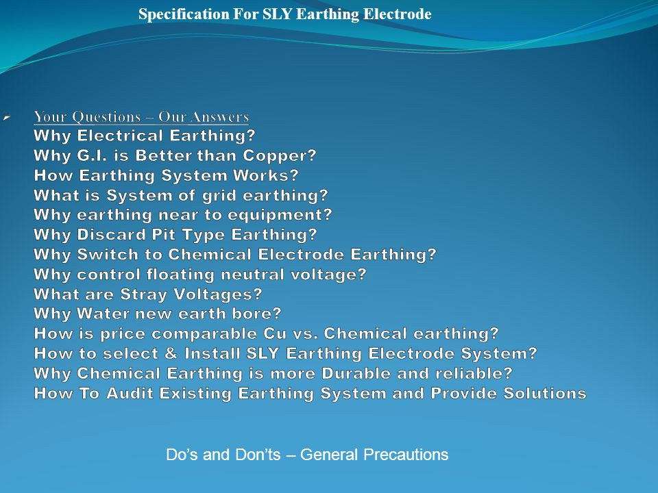Specification For SLY Earthing Electrode