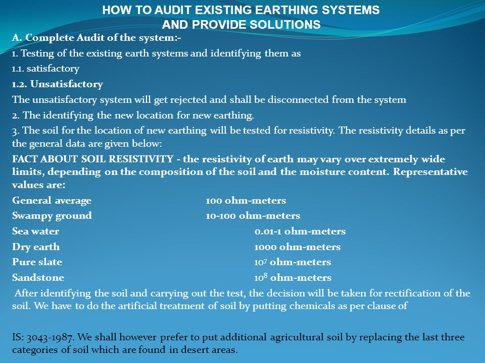 HOW TO AUDIT EXISTING EARTHING SYSTEMS AND PROVIDE SOLUTIONS