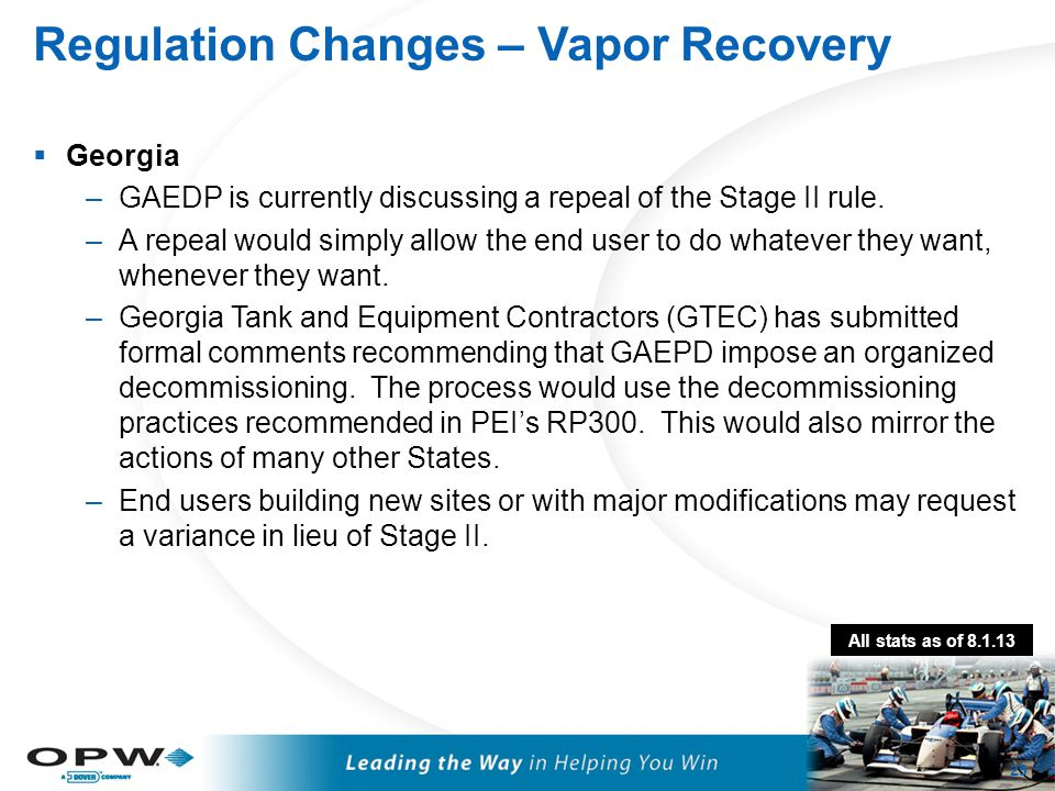 Regulation Changes – Vapor Recovery