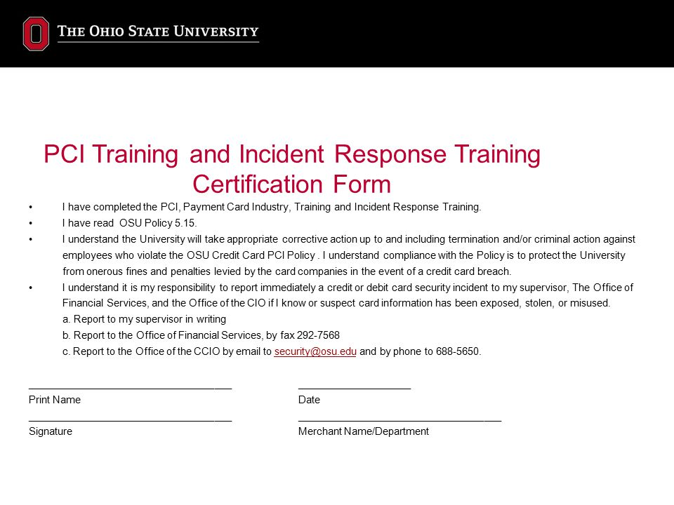 PCI Training and Incident Response Training Certification Form