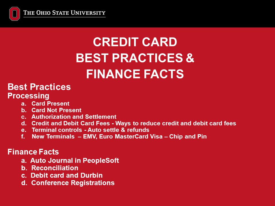 CREDIT CARD BEST PRACTICES & FINANCE FACTS