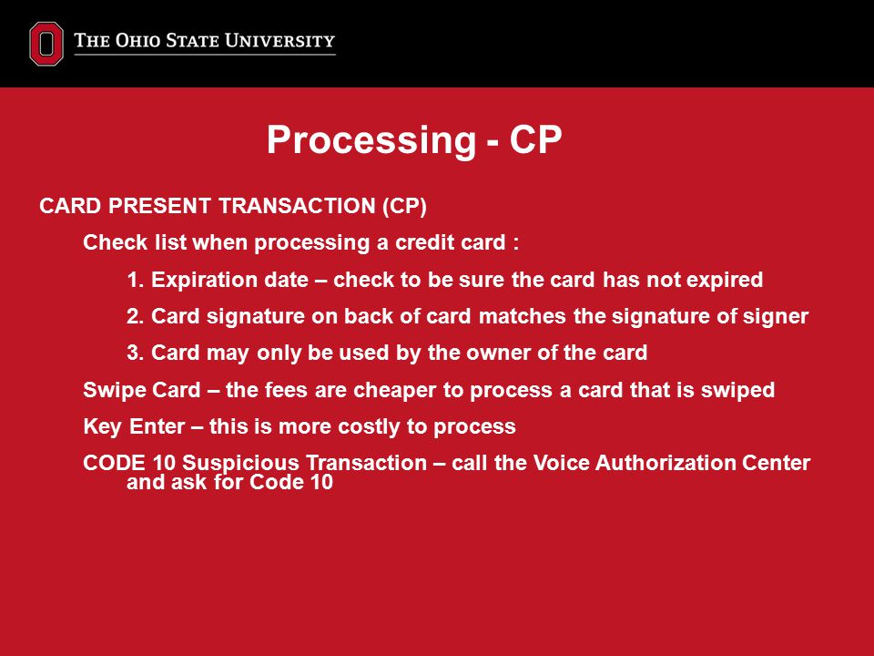 Processing - CP CARD PRESENT TRANSACTION (CP)