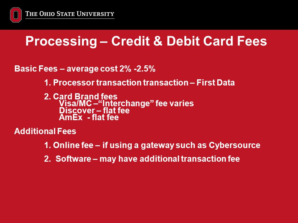 Processing – Credit & Debit Card Fees