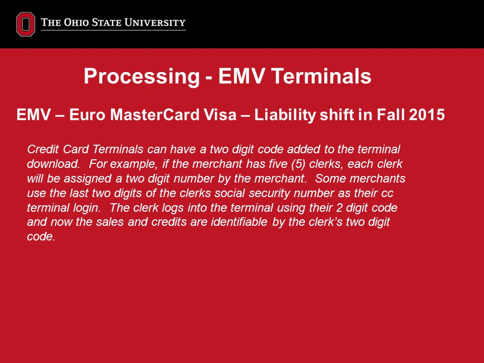 Processing - EMV Terminals