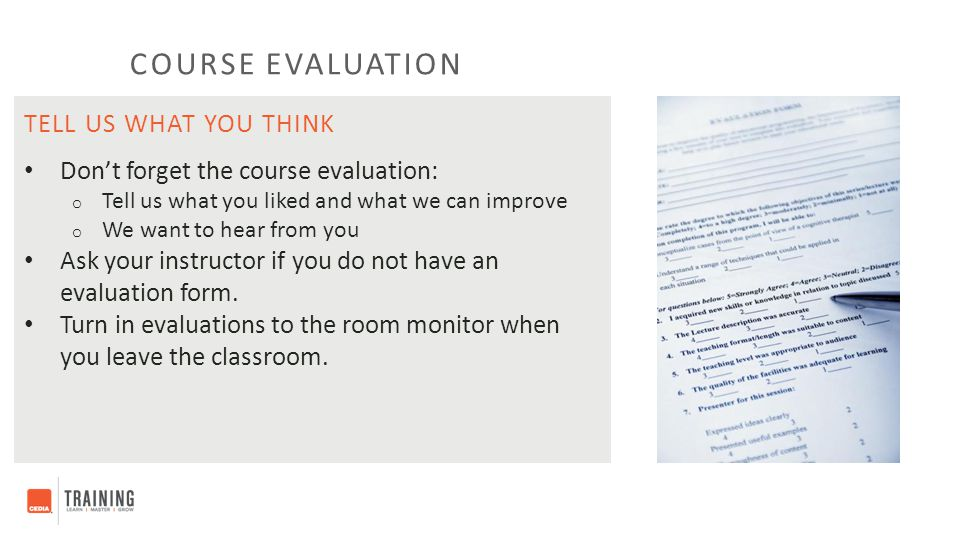 Course evaluation Tell us what you think