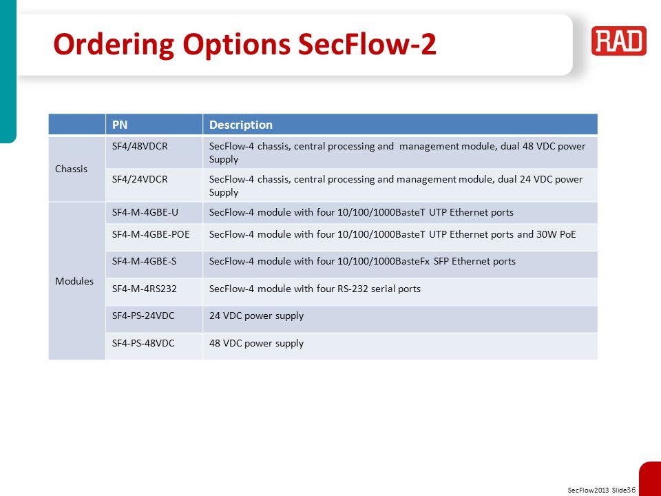 Ordering Options SecFlow-2