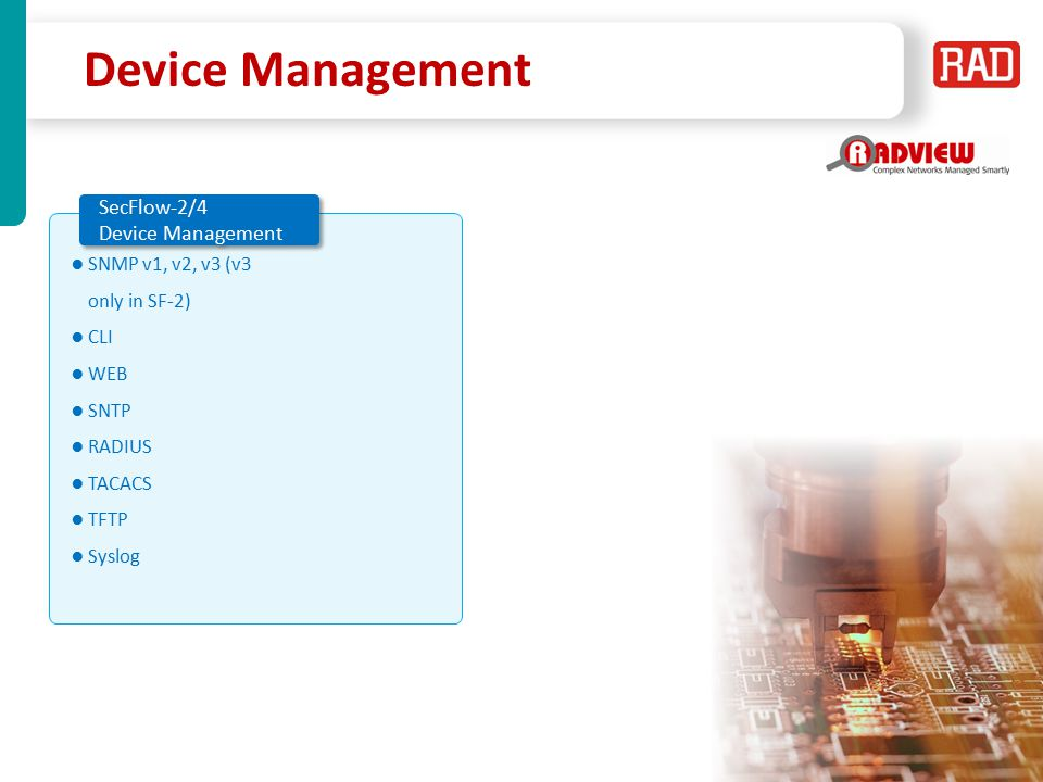 Device Management SecFlow-2/4 Device Management
