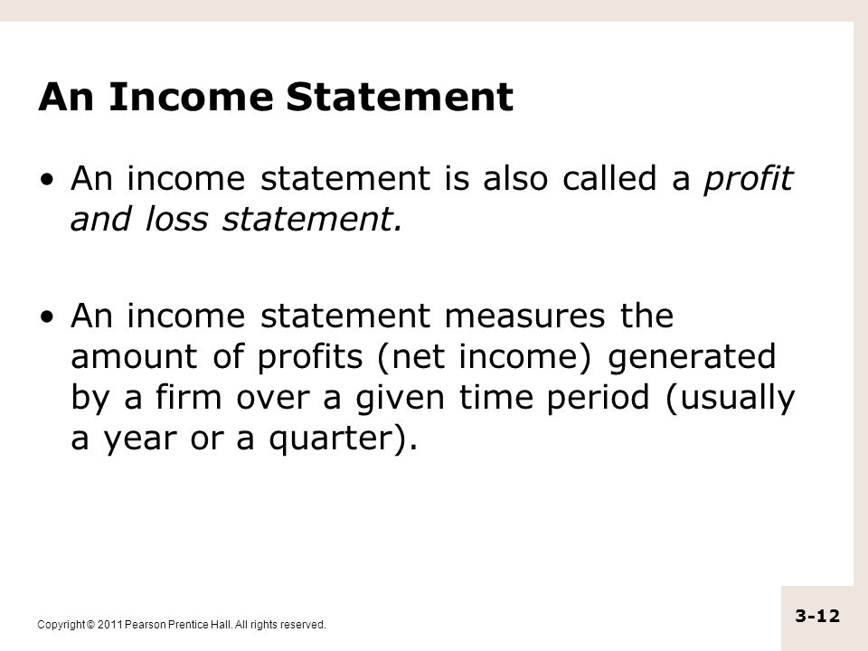 An Income Statement An income statement is also called a profit and loss statement.